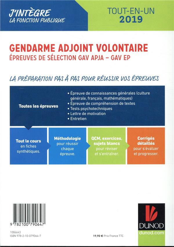 Gendarme Adjoint Volontaire épreuves De Sélection Gav Apja Ep Catégorie C Tout En Un édition 2019 Renald Boismoreau Dunod Grand Format