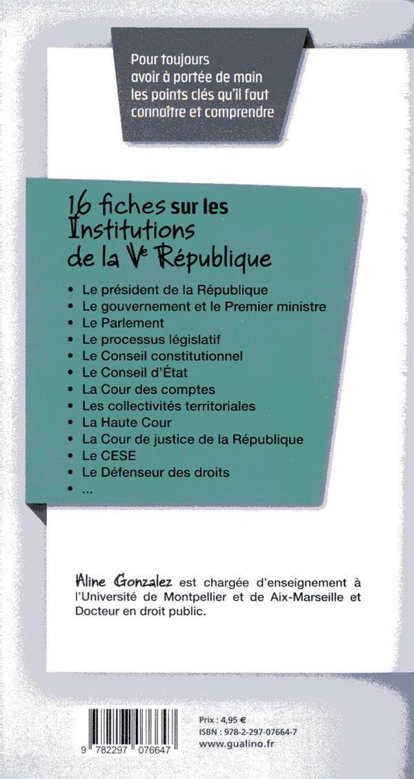 institutions de la Ve République ; les points clés du fonctionnement de nos institutions (édition 2019/2020)