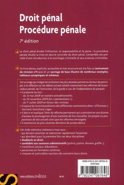 Droit pénal, procédure pénale (7e édition)