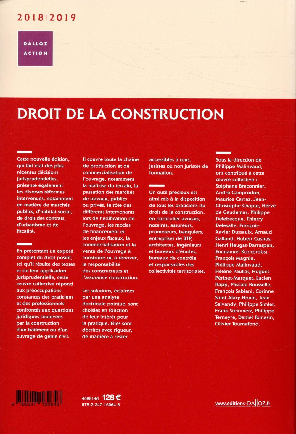 Droit de la construction (édition 2018/2019)