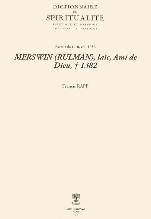 MERSWIN (RULMAN), laïc, Ami de Dieu, + 1382