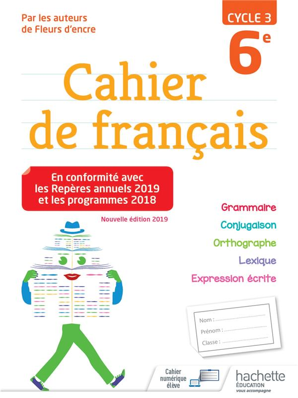 Cahier De Francais Cycle 3 6e Edition 2019 Chantal Bertagna Francoise Carrier Hachette Education Grand Format Lamartine Paris