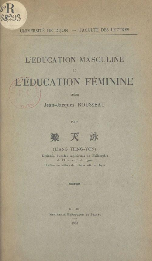 L'éducation masculine et l'éducation féminine selon Jean-Jacques Rousseau