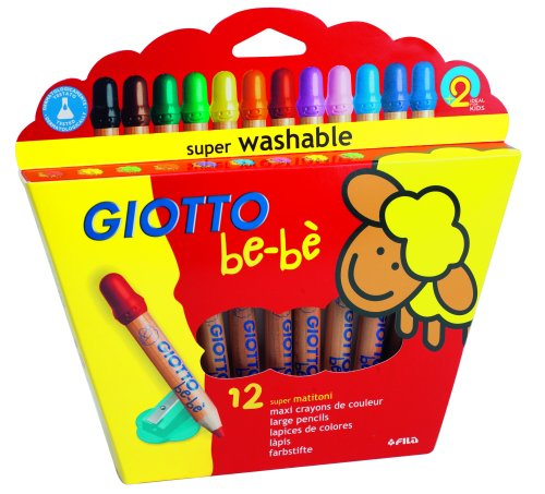 Giotto be-bŠ - Etui-coffret 12 crayons maxi bois + 1 taille-crayon (PEFC)