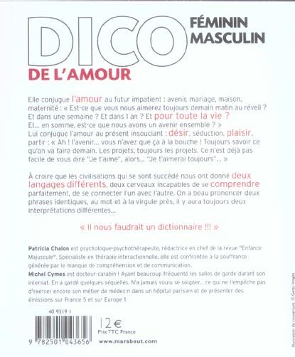 Dico Feminin Masculin De L Amour Michel Cymes Patricia Chalon Marabout Grand Format Librairie De Paris St Etienne St Etienne