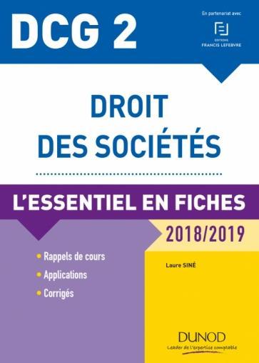 DCG 2 - droit des sociétés ; l'essentiel en fiches (édition 2018/2019)