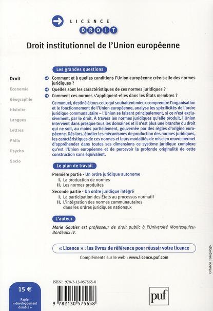 Droit institutionnel de l'Union européene