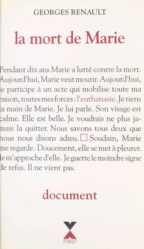 La mort de Marie : document