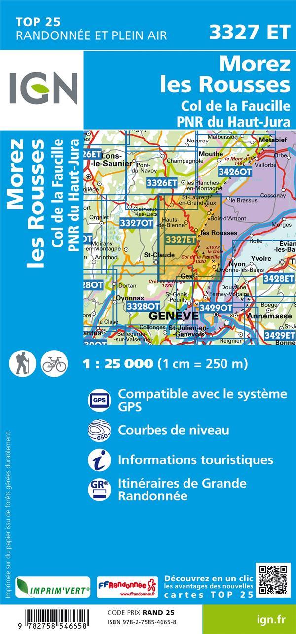 3327ET ; Morez, les Rousses, col de la Faucille, PNR du Haut Jura (4e édition)