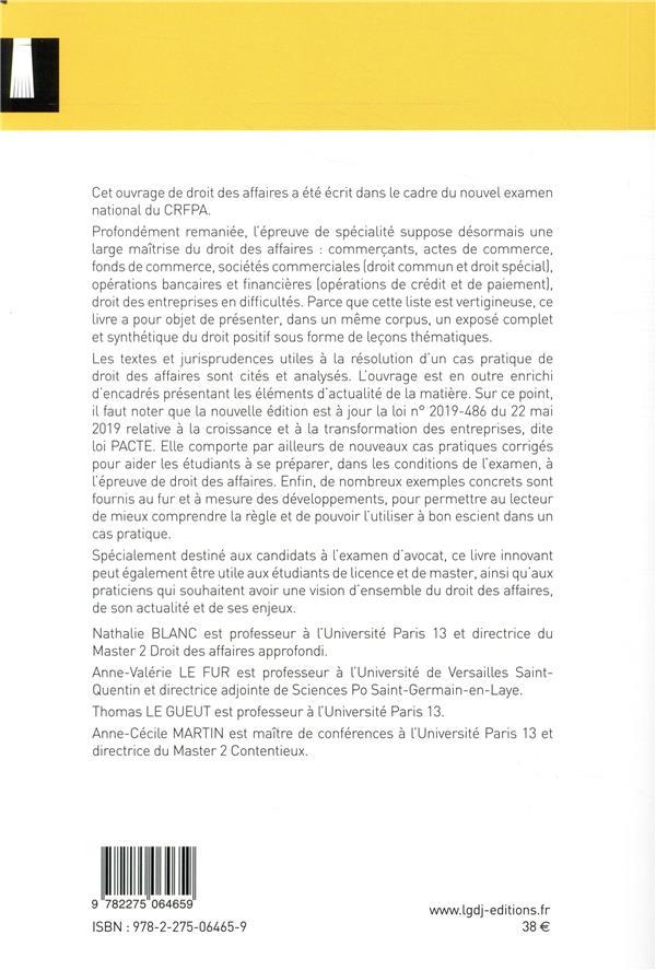 Droit des affaires ; épreuve de spécialité du CRFPA (édition 2019)