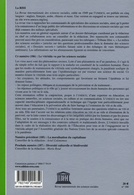 Riss t.186 ; le vih/sida vu par les sciences