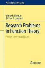 Research Problems in Function Theory  - Walter K. Hayman - Eleanor F. Lingham