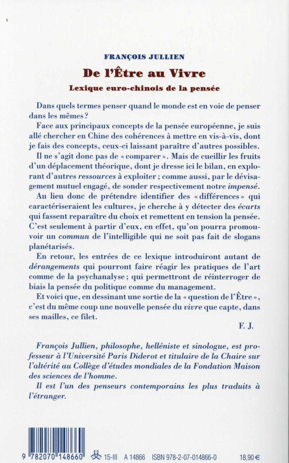 De l'être au vivre ; lexique euro-chinois de la pensée
