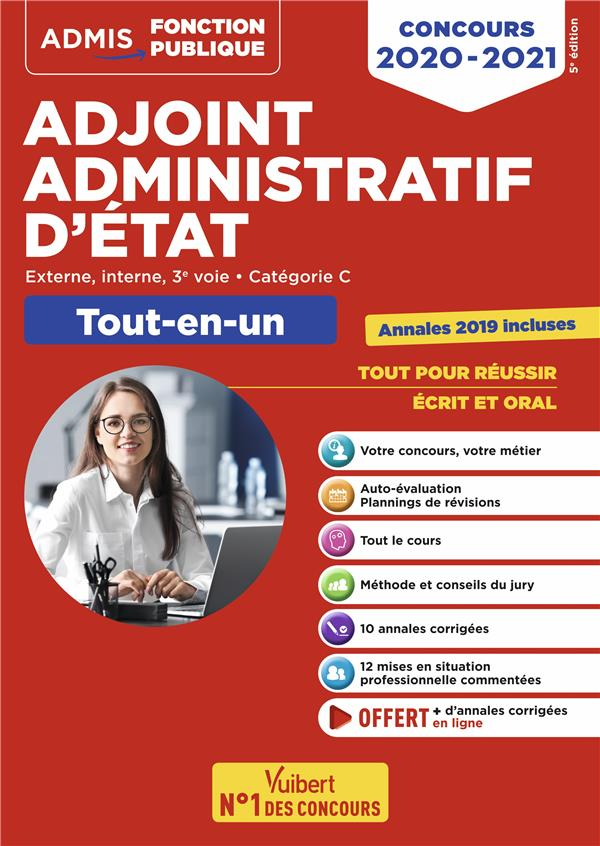 COLLECTIF - ADJOINT ADMINISTRATIF D'ETAT  -  EXTERNE, INTERNE, 3E VOIE, CATEGORIE C  -  TOUT-EN-UN (EDITION 20202021)
