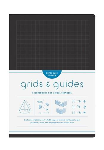 GRIDS & GUIDES SOFTCOVER (BLACK) TWO NOTEBOOKS FOR VISUAL THINKERS ANGLAIS