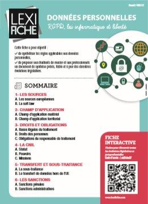 Donnees Personnelles ; Rgpd, Loi Informatique Et Libertes