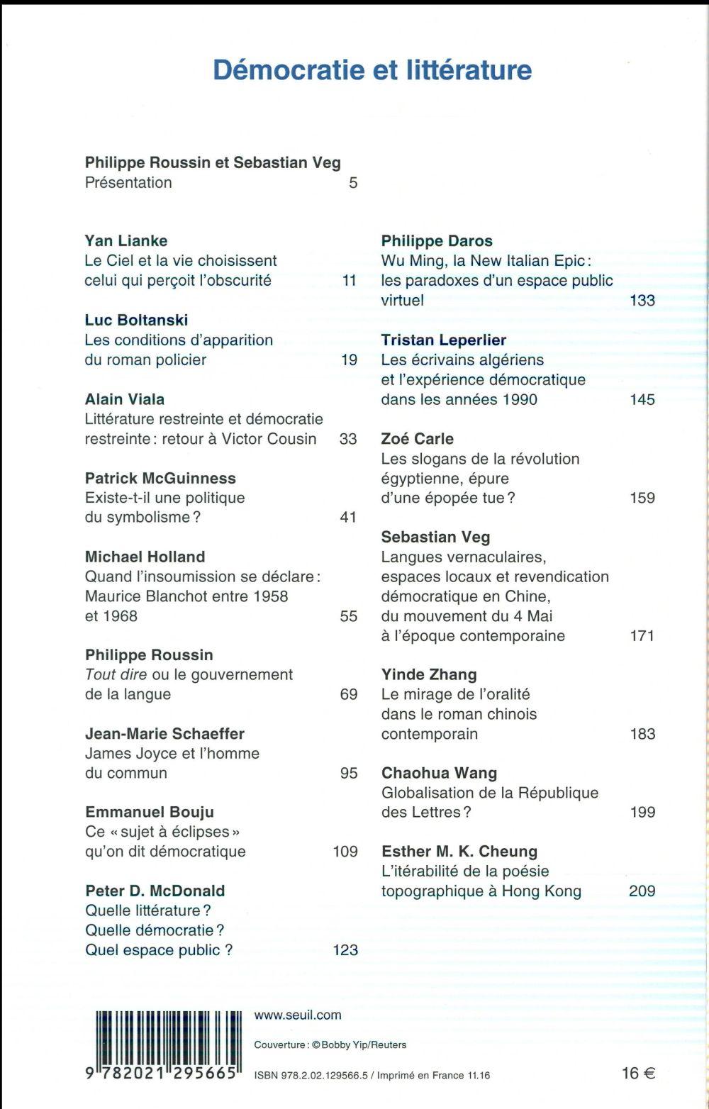 REVUE COMMUNICATIONS n.99 ; démocratie et littérature ; expériences quotidiennes, espaces publics, régimes politiques