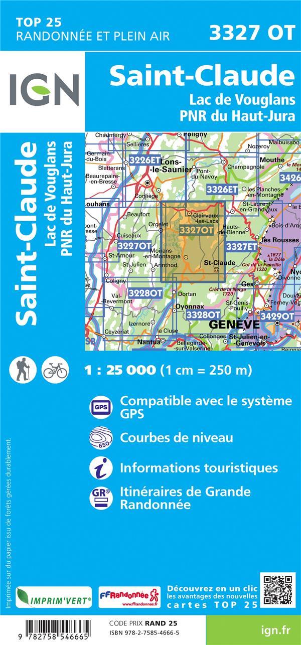 3327OT ; St-Claude, Lac de Vouglans, PNR du Haut Jura (4e édition)