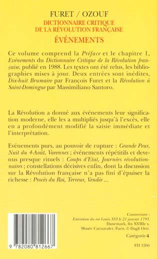 Dictionnaire critique revolution francaise : evenements