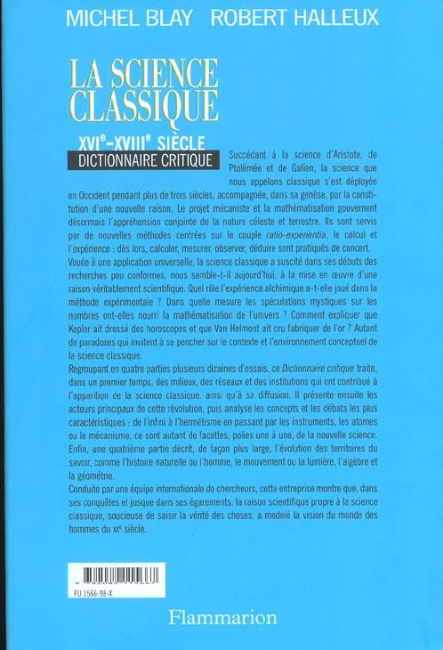 La science classique - xvie-xviiie siecle, dictionnaire critique