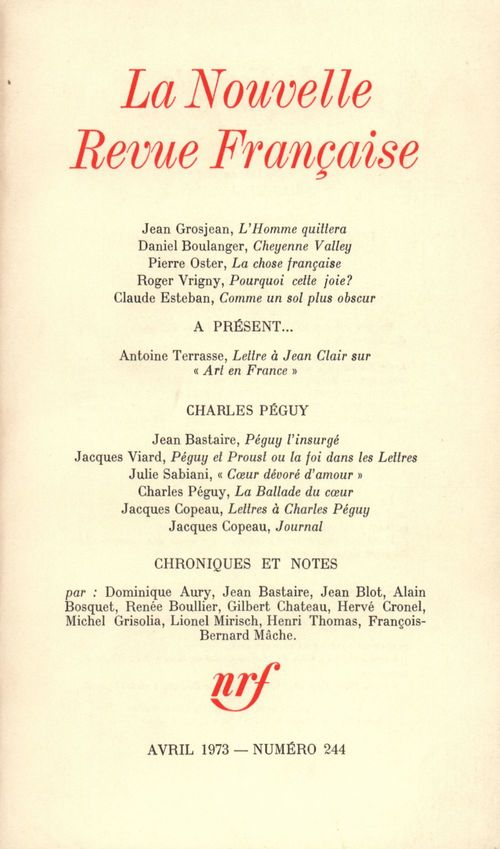 La Nouvelle Revue Française N° 244