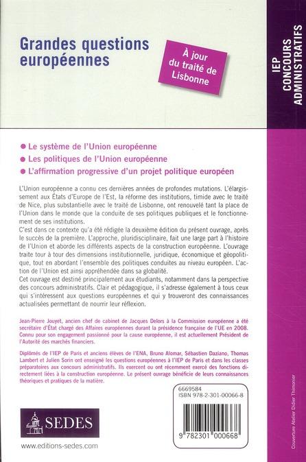 Grandes questions européennes ; concours administratifs, IEP (2e édition)