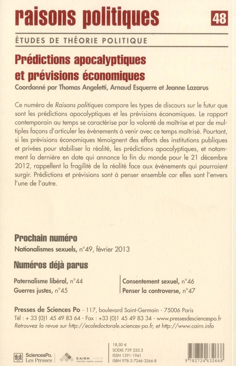 Revue raisons politiques n.48 ; predictions apocalyptiques et previsions economiques