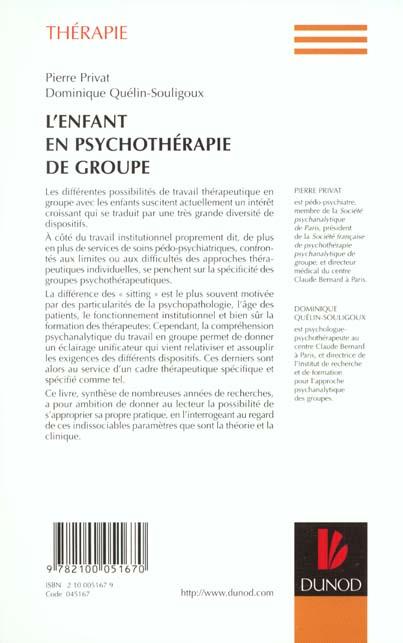 L'enfant en psychoterapie de groupe