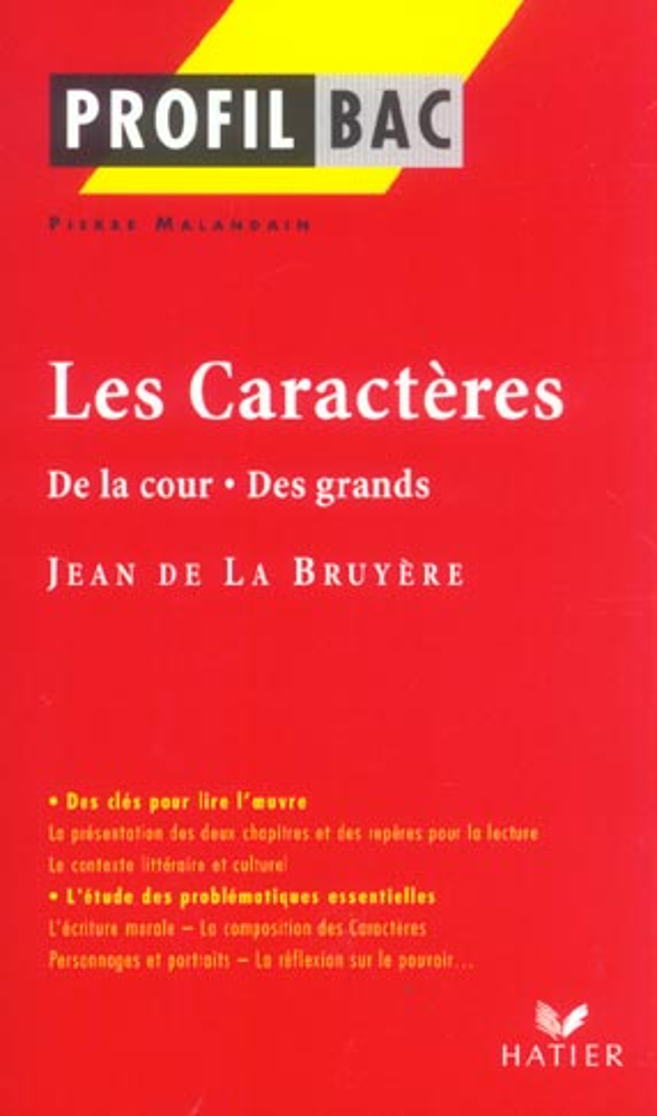 Les Caracteres De La Cour Des Grands De Jean De La Bruyere