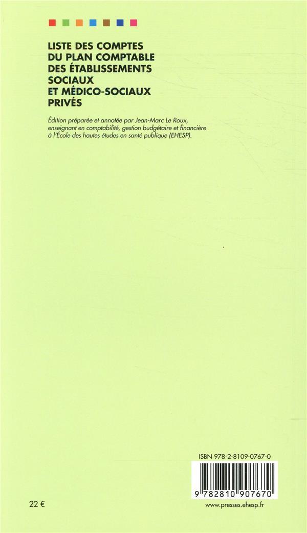 Liste des comptes du plan comptable des établissements et services sociaux et médico-sociaux privés (édition 2019)