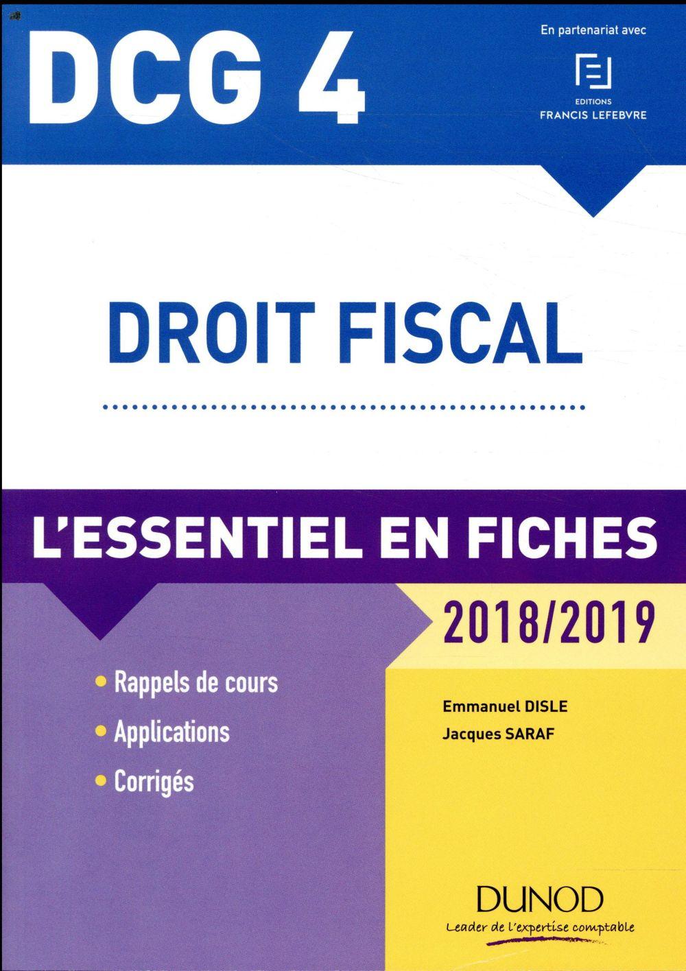 DCG 4 - droit fiscal ; l'essentiel en fiches (édition 2018/2019)