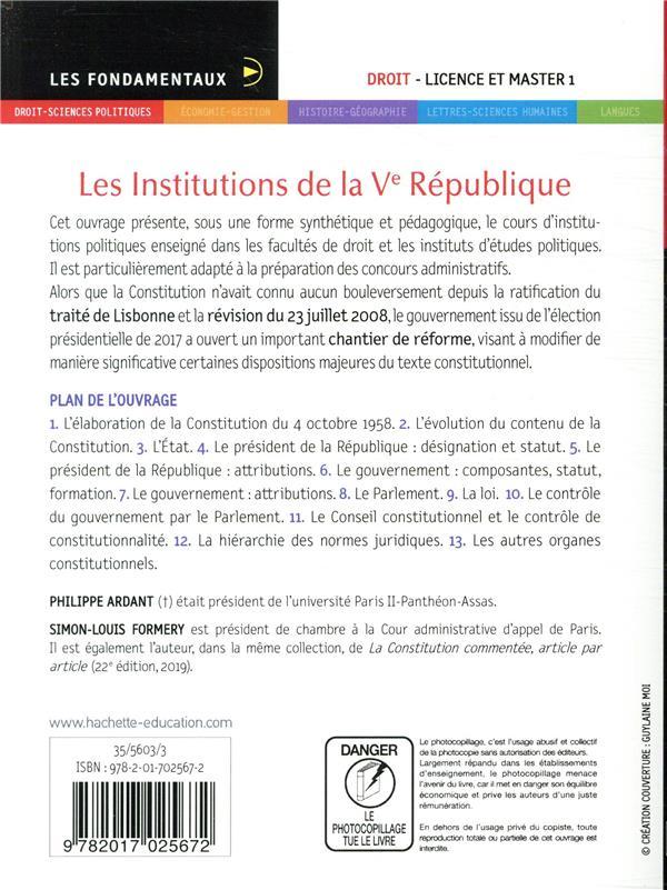 Les institutions de la Ve République (15e édition)