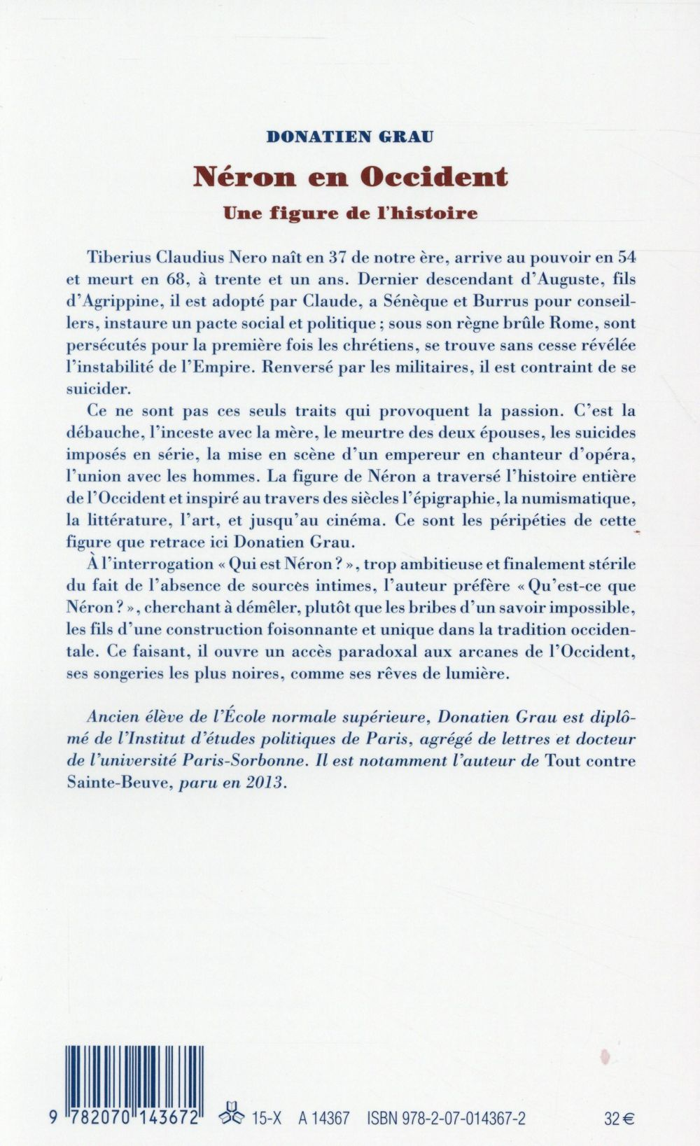 Néron en Occident, une figure de l'histoire