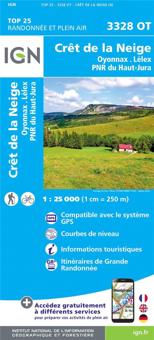 3328OT ; Crêt de la Neige, Oyonnax, Lélex, PNR du Haut Jura (4e édition)