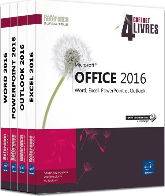 Microsoft Office 2016 ; coffret de 4 livres : Word, Excel, PowerPoint et Outlook