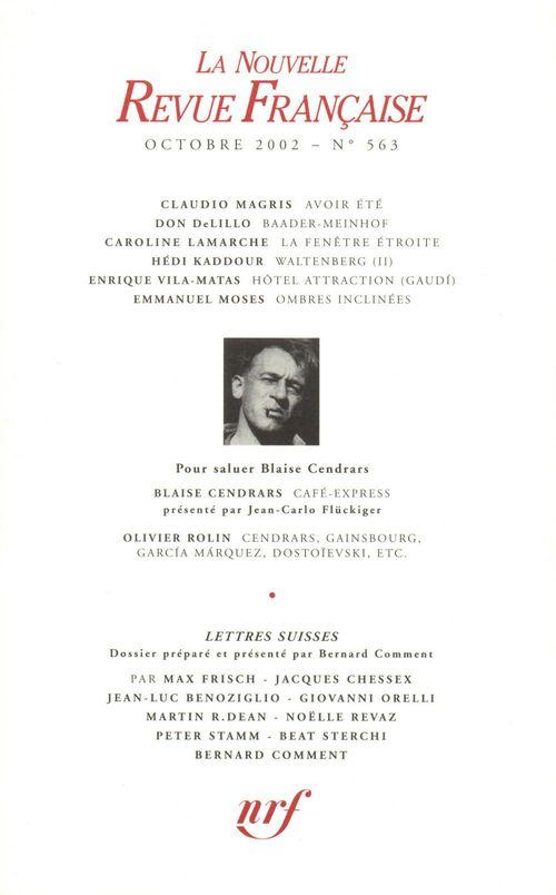 La nouvelle revue francaise N.563 ; lettres suisses