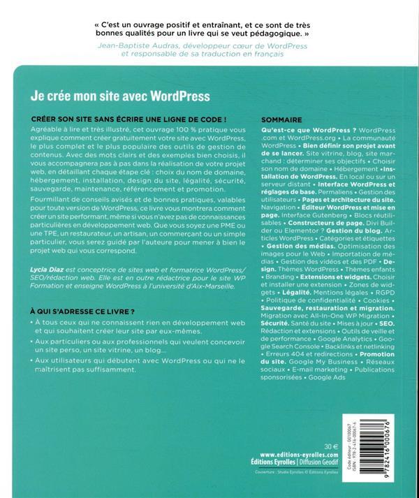 je crée mon site avec Wordpress ; le guide complet, de l'hébergement à la promotion