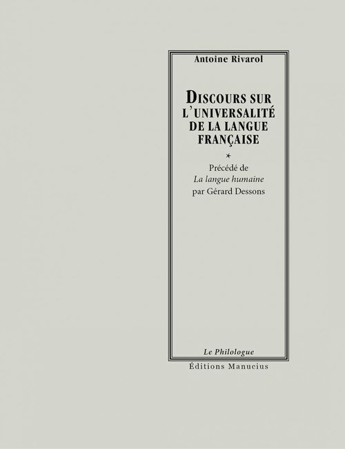 Discours sur l'universalité de la langue française