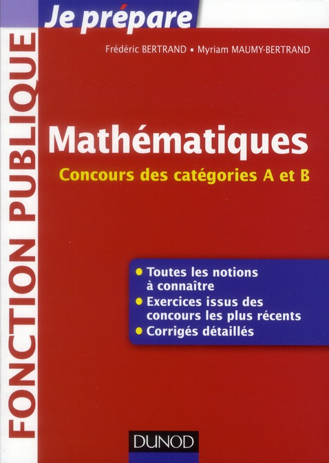 Je prépare ; mathématiques ; concours des catégories A et B