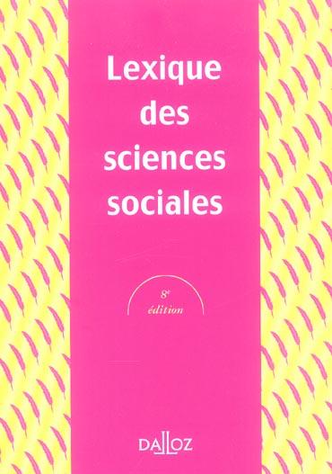 Lexique Des Sciences Sociales - 8e Ed.