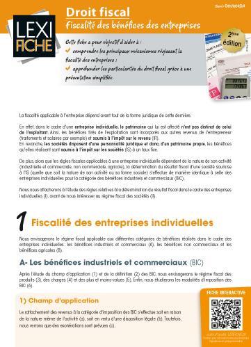 Droit Fiscal ; Fiscalite Des Benefices Des Entreprises (2e Edition)
