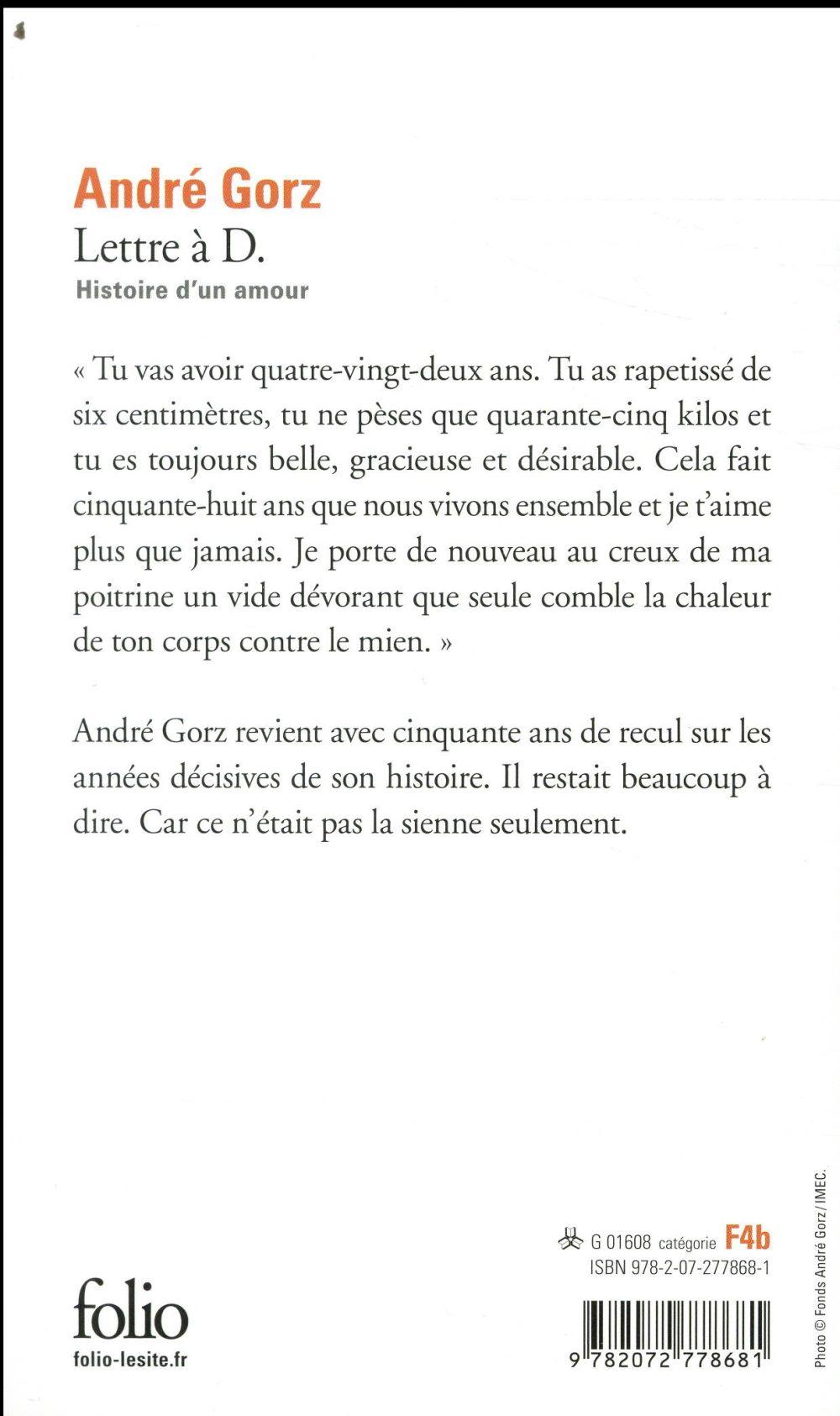 Lettre à D. ; histoire d'un amour