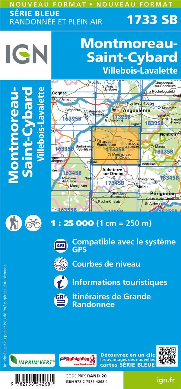 1733SB ; Montmoreau, St-Cybard, Villebois-Lavalette (édition 2018)