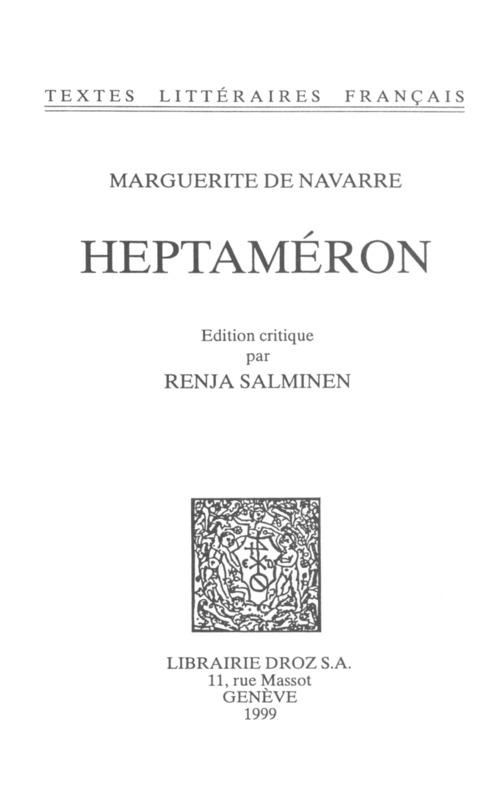 Heptaméron  - Marguerite de Navarre