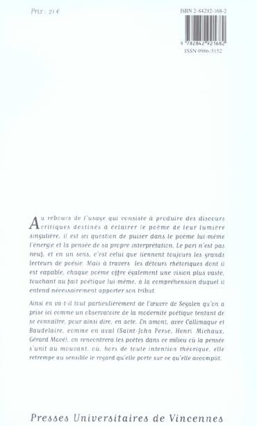 Ce que le poème dit du poème ; Ségalen, Baudelaire, Callimaque, Gauguin, Mace, Michaux ; Saint John Perse