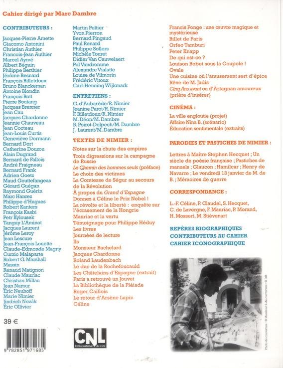 LES CAHIERS DE L'HERNE ; Roger Nimier