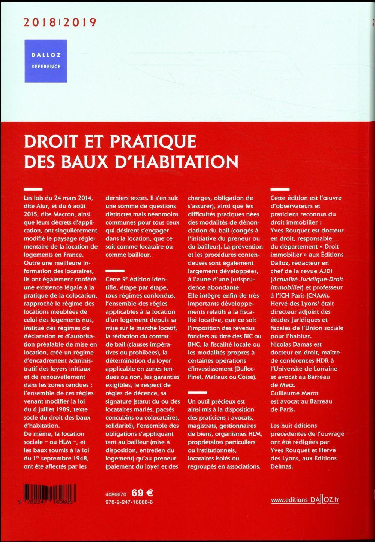 Droit et pratique des baux d'habitation (édition 2018/2019)