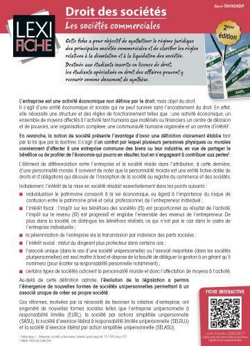 Droit Des Societes ; Les Societes Commerciales (2e Edition)