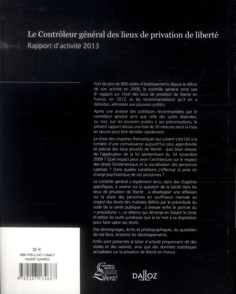 Le contrôleur général des lieux de privation de liberté ; rapport d'activité 2013