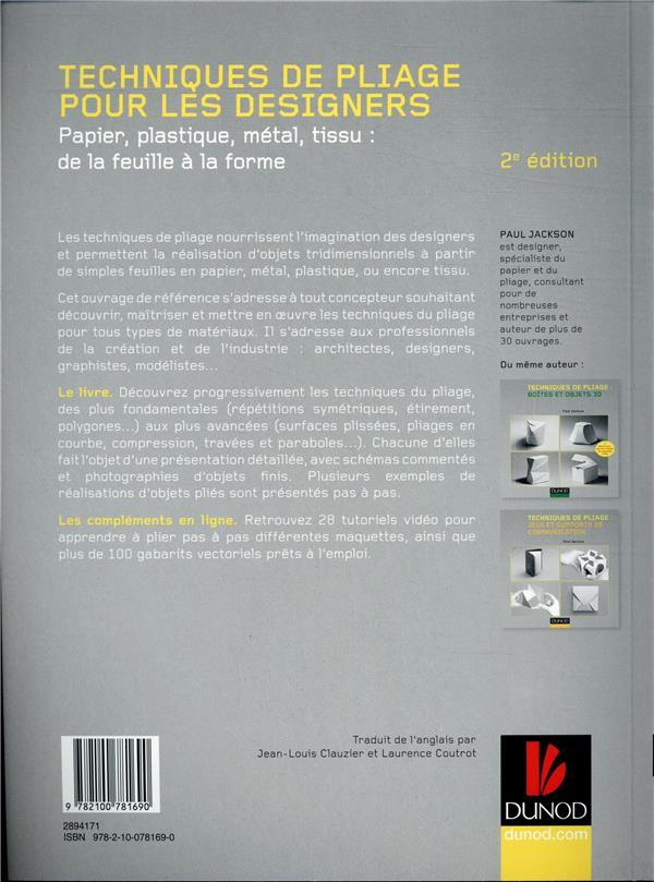 Techniques de pliage pour les designers ; papier, plastique, métal, tissu : de la feuille à la forme